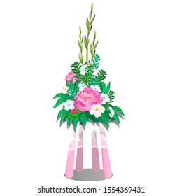 Ikebana of flowers on the table with pink legs and a white lace sheer tablecloth isolated on a white background. Vector cartoon close-up illustration