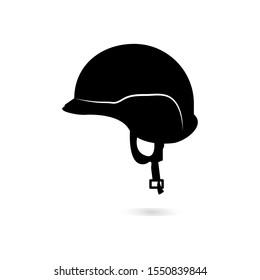 Ikon helm tentara terisolasi dengan latar belakang putih. Seni vektor.