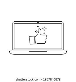 Ikon vektor datar komputer laptop atau notebook untuk aplikasi dan situs web
