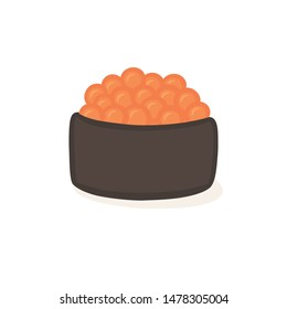 Ikura Salmon Flying Fish Roe Roll Sushi Japanese Rolled Food Vector Illustration isolated on white background