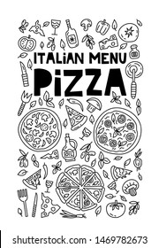 Ilallian pizza menu. Lettering with illustration