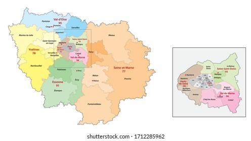 ile de france region administrative and political vector map