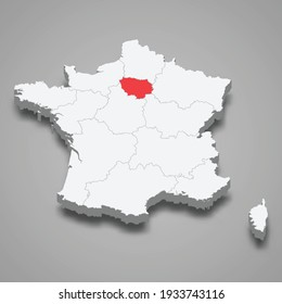 Ile-de-France region location within France 3d isometric map