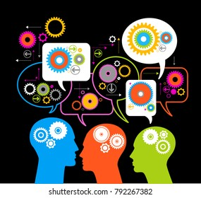 ilhouettes of people's heads with gears and speech bubbles. Teamwork of people. Bright color image on a black background. The file is saved in the version AI10 EPS. This image contains transparency.