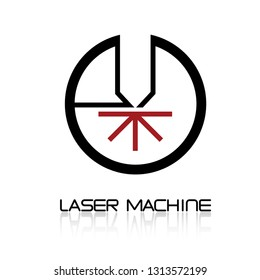 Iliumustration consisting of  CNC machine images in the form of a symbol or logo. Laser cutting, engraving.