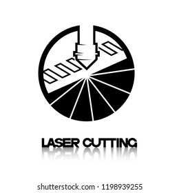 Iliumustration consisting of two CNC machine images in the form of a symbol or logo. Laser cutting, engraving.