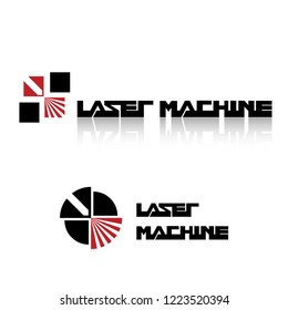 Iliustration consisting of two CNC machine images in the form of a symbol or logo. Laser cutting, engraving.