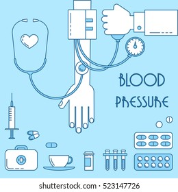 Ill design, vector line illustration. Blood pressure measurement