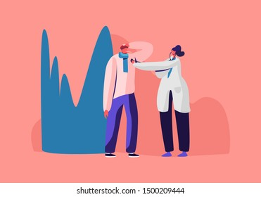 Ill Man with Iced Heater on Head Having Cold Virus Caught Flu Disease. Female Doctor Character Listen Heart Beating and Measuring Temperature with Thermometer, Illness. Flat Vector Illustration