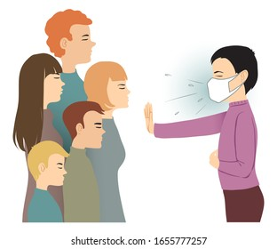 Ill man with mask warns people around him to keep distance, conceptual image for epidemic prevention, vector image