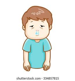 ill man runny nose because flu disease, vector