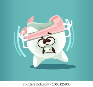 Ill sick broke destroy tooth character have toothache pain. Dental medical oral orthodontic painful caries concept. Vector flat cartoon isolated illustration graphic design