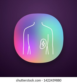 Ill spleen app icon. Sore human organ. People disease. Unhealthy lymphatic system. Sick internal body part. Immune system. UI/UX user interface. Web or mobile application. Vector isolated illustration