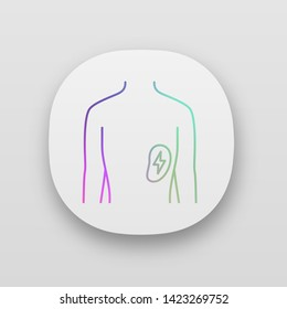 Ill spleen app icon. Sore human organ. Unhealthy lymphatic system. Sick internal body part. Immune system. UI/UX user interface. Web or mobile applications. Vector isolated illustrations