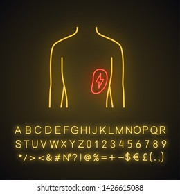 Ill spleen neon light icon. Sore human organ.  Unhealthy lymphatic system. Immune system. Glowing sign with alphabet, numbers and symbols. Vector isolated illustration