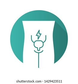 Ill urinary bladder flat design long shadow glyph icon. Sore human organ. Cystitis. Unhealthy urinary system. Sick internal body part. Aching urinary tract. Vector silhouette illustration
