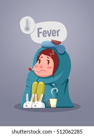 Ill Young Girl With Fever Drinking Cup Of Warm Tea Vector Illustration