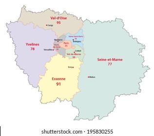 Ile De France Carte Stock Vectors Images Vector Art