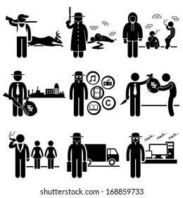 Illegal Activity Crime Jobs Occupations Careers - Poachers, Killer, Drug Dealer, Gangster, Piracy, Loan Shark, Pimps, Smuggler, Hacker - Stick Figure Pictogram