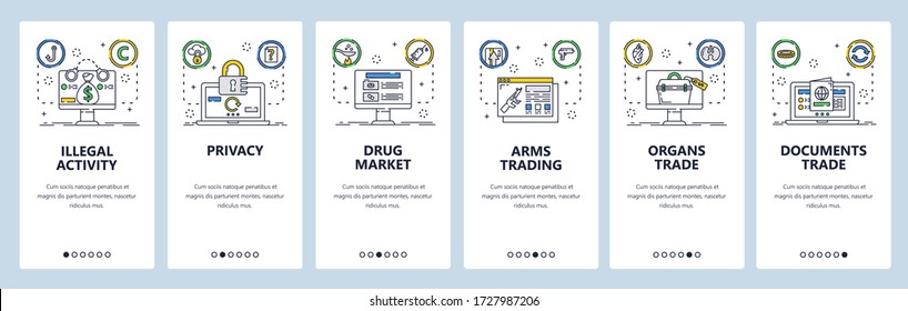Illegal activity web site and mobile app onboarding screens. Menu banner vector template for website and application development. Drugs market, arms human organs illegal trade. Thin line flat style.