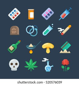 Illegal drug tablets, alcohol addiction, methamphetamine abuse vector flat icons