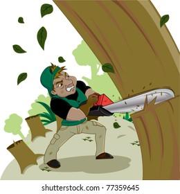 Illegal loggers cut down tree