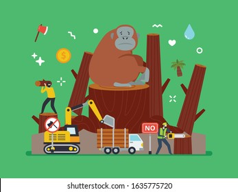Illegal logging, reforestation, climate change and industry impact to nature and wildlife conservation. Nature preservation campaign poster material with tiny people.