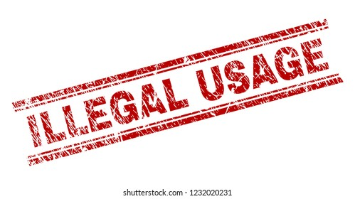 ILLEGAL USAGE seal imprint with distress texture. Red vector rubber print of ILLEGAL USAGE text with dust texture. Text tag is placed between double parallel lines.