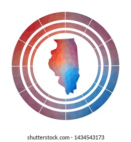 Illinois badge. Bright gradient logo of us state in low poly style. Multicolored Illinois rounded sign with map in geometric style for your infographics.