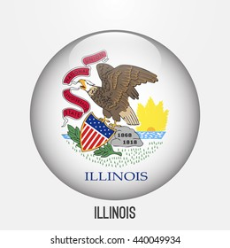 Illinois flag in circle shape. Transparent,glossy,glass button