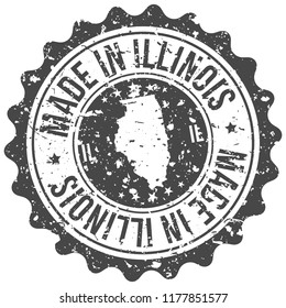 Illinois Made In Map Travel Stamp Icon City Design Tourism Export Seal