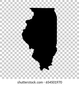 Illinois map isolated on transparent background. Black map for your design. Vector illustration, easy to edit.