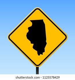 Illinois map road sign. Square poster with us state outline on yellow rhomb signboard. Vector illustration.