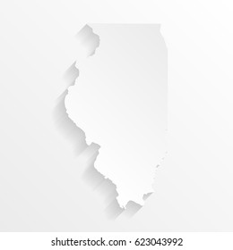 Illinois Map with shadow. Cut paper isolated on a white background. Vector illustration.