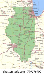 Illinois map. Shows state borders, urban areas, place names, roads and highways.Projection: Mercator.