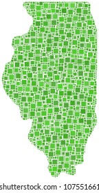 Illinois map - USA- in a mosaic of green squares. A number of 2516 little squares are accurately inserted into the mesh. White background.