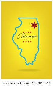 Illinois map with word chicago and star vector eps 10