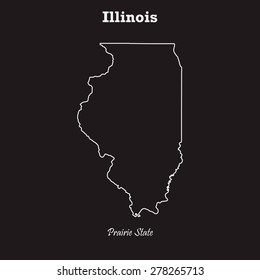 Illinois outline map, stroke. Name of state. Line style. Vector EPS8