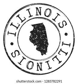 Illinois Silhouette Postal Passport Stamp Round Vector Icon Design