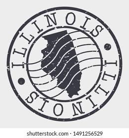 Illinois Stamp Postal. Map Silhouette Seal. Passport Round Design. Vector Icon. Design Retro Travel.