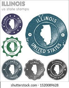 Illinois stamps collection. Rubber stamps with us state map silhouette. Vector set of Illinois logo.