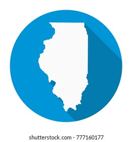 Illinois state map flat icon with long shadow EPS 10 vector illustration.