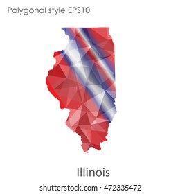 Illinois state map in geometric polygonal,mosaic style.Abstract gems triangle,modern design background. Vector illustration EPS10
