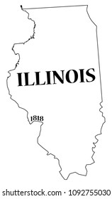 An Illinois state outline with the date of statehood isolated on a white background