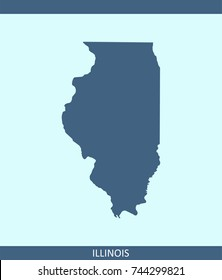 Illinois state of USA map vector outline illustration in blue background