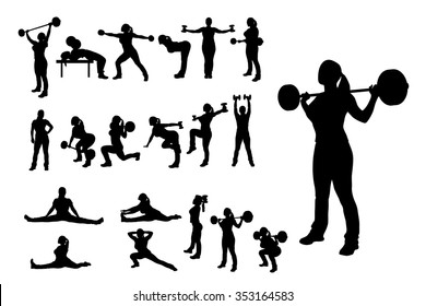 illlustration of female silhouette in different poses working out