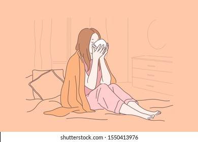 Illness, home treatment, winter concept. Young girl with warm teacup, coffee cup, wrapping up in blanket, sick woman in bed, drinking remedy, taking medication. Simple flat vector