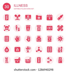 illness icon set. Collection of 30 filled illness icons included Pills, Virus, Cancer, Vaccine, Medicine, Pill, Drug, Blood donation, Infected, Bacterias, Vials, Tongue depressor