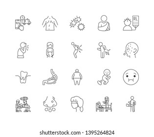 Illness line icons, signs, vector set, outline illustration concept