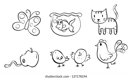 Illstration of the six different doodle designs on a white background